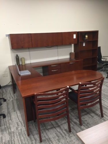 Cherry Wood U-Desk Group